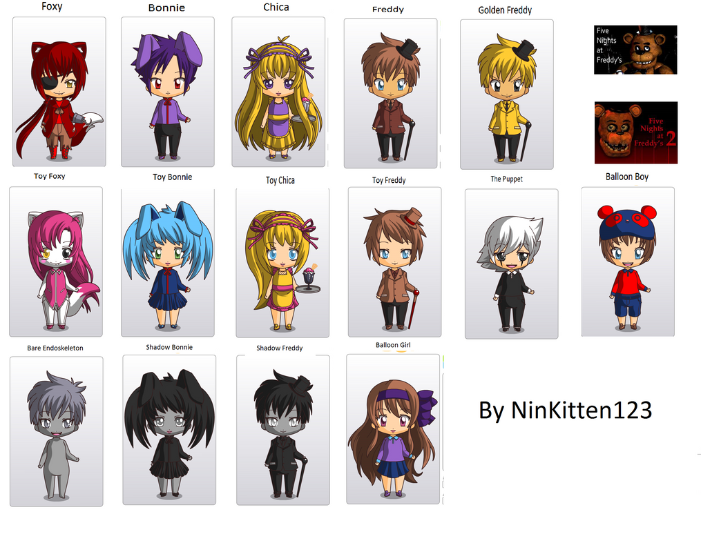 Fnaf chibi all characters by ninkitten123 on deviantart