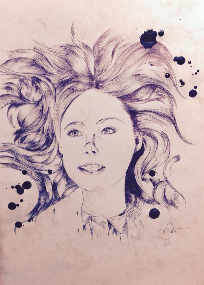 Elle Fanning [Ballpoint Pen Portrait] by PhiaMatus