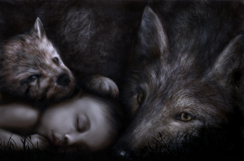 Wolf baby at night by Alisha-Mordicae