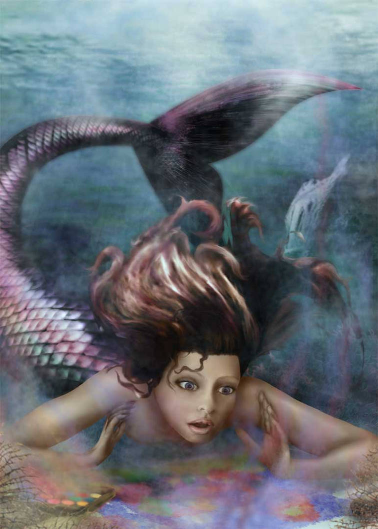 Mermaids first painting 2 by Alisha-Mordicae