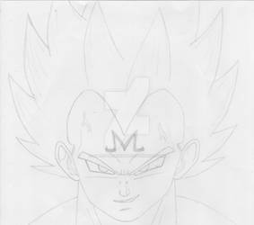 Majin Vegeta pencil sketch