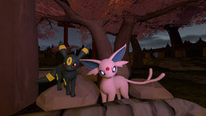 Pokemon ) Espeon and Umbreon by Kameron-Haru