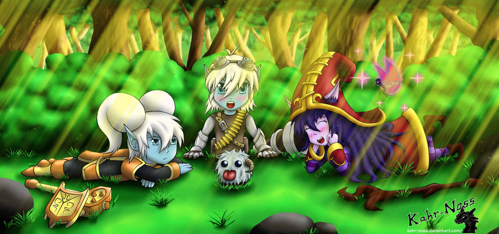 The three little yordles in the bushes by Kahr-Noss