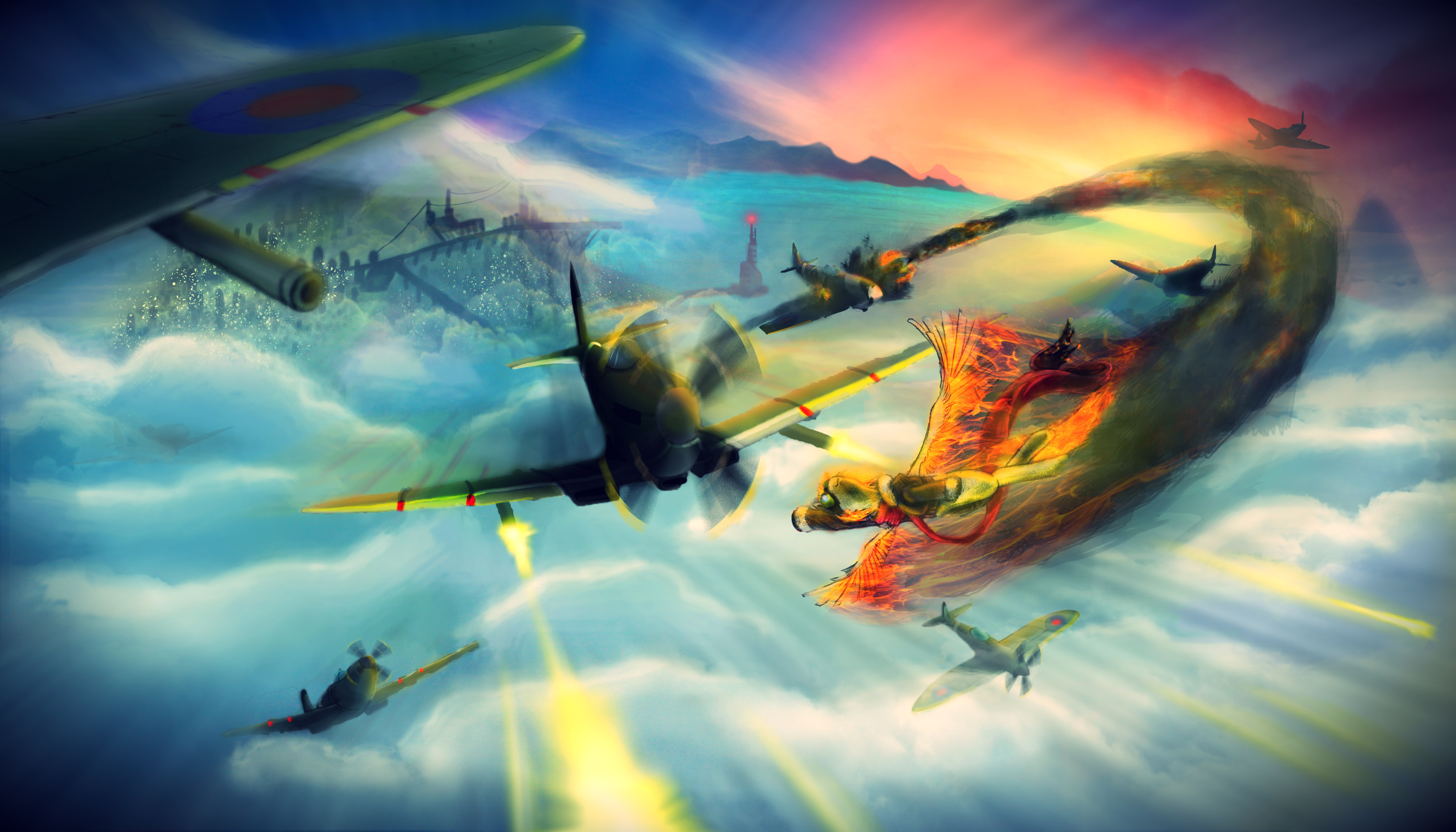 SpitfireS in the sky by Ackuroon