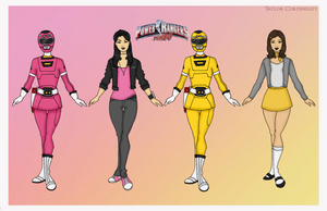 Pink and Yellow Turbo Power Rangers by Femmes-Fatales