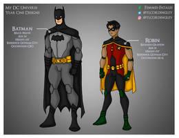 My DCU - Batman and Robin Year One Designs by Femmes-Fatales