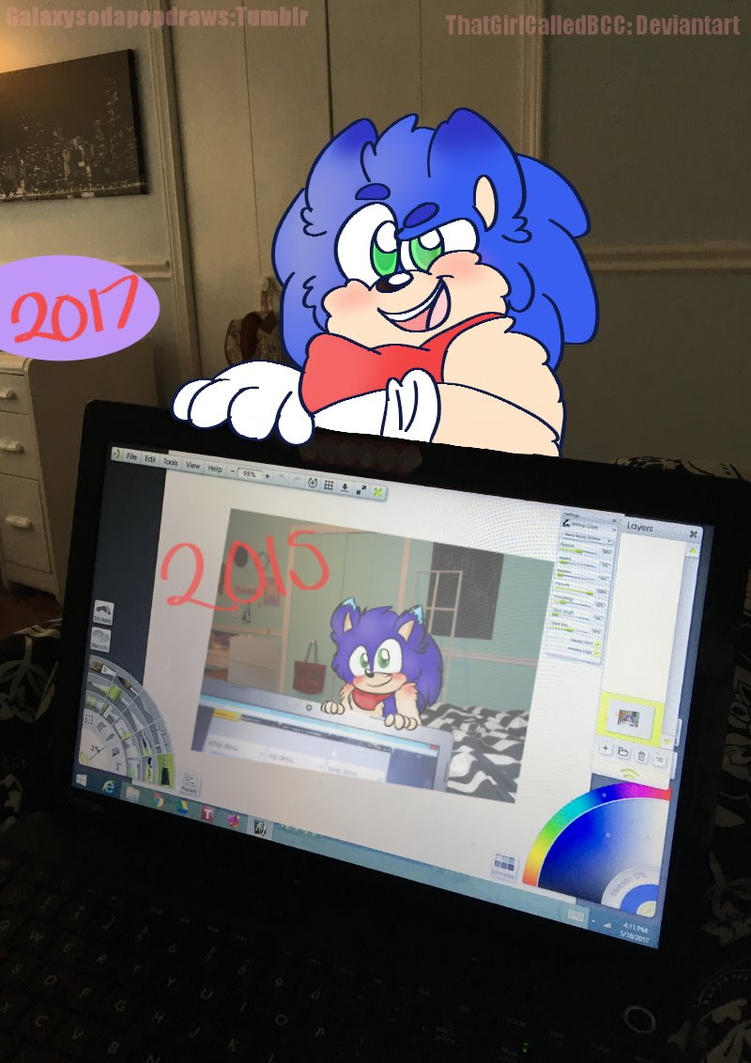 Redraw Week, Day 4: Sonic and the Computer by ThatGirlCalledBCC