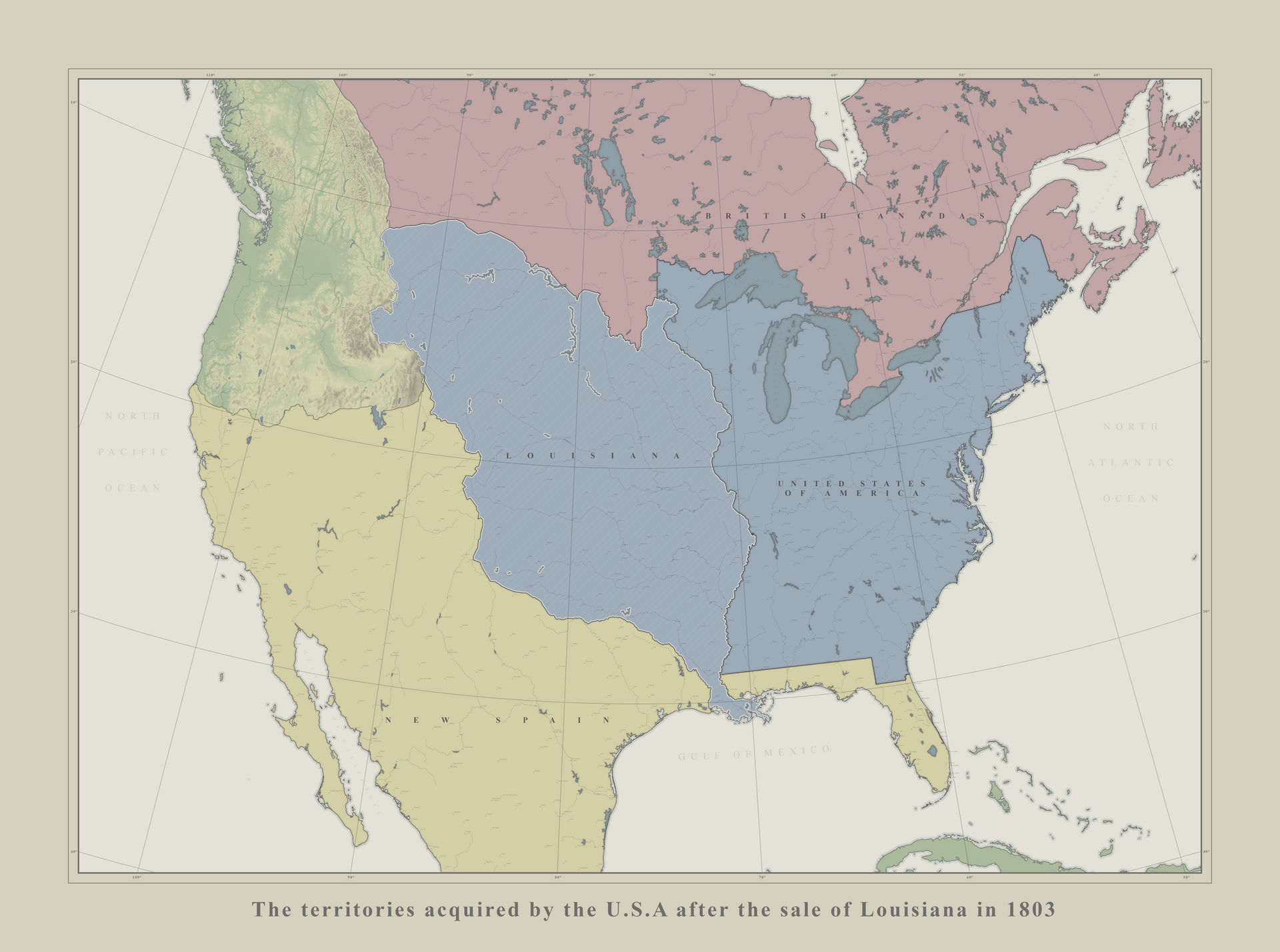 Territories sold to the US in 1803 by France by Cattette on ...