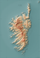 Shaded Relief Map of Corsica