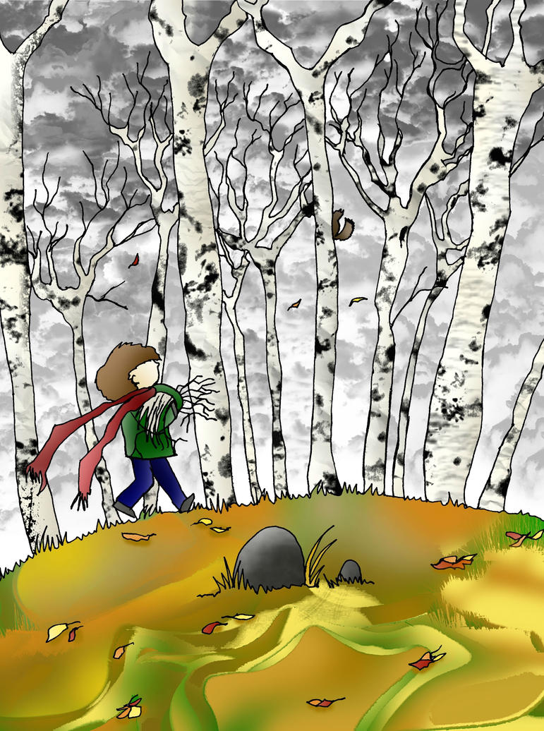 gathering twigs for a campfire colored by Formor
