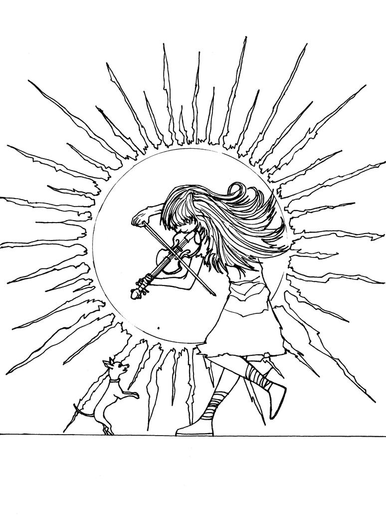 Lindsey Stirling and Luna Those Days linework by Formor