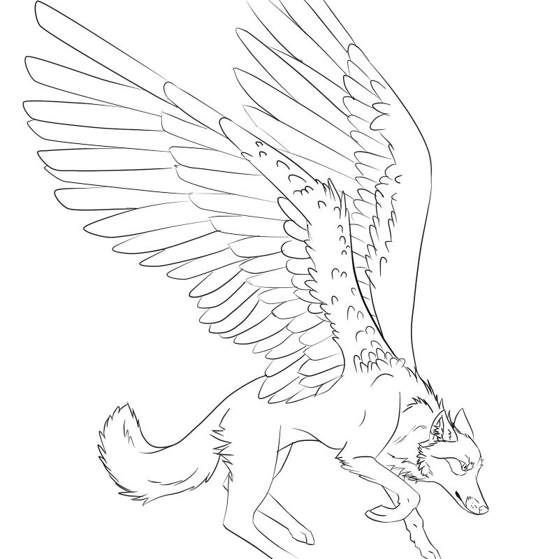 Lineart Wolf Tattoo : Winged wolf lineart by trevu on deviantart