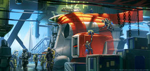Docked SpaceShip by michaellimsstuff