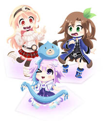 Neptunia Girls and a Dogoo by kashikoma