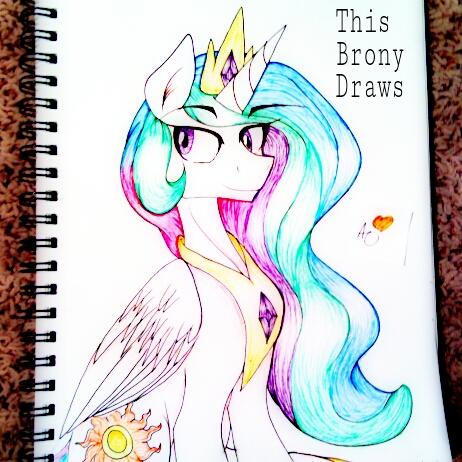 Princess Celestia-Pen Art by ThisBronyDraws