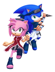 [crossover collab] Sonamy as Sasusaku by AngieR3741