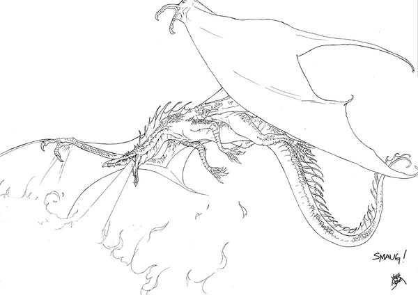 Pin The Hobbit Coloring Pages Smaug Dragongif On Pinterest