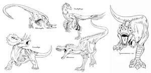 Dinosaur line art studies