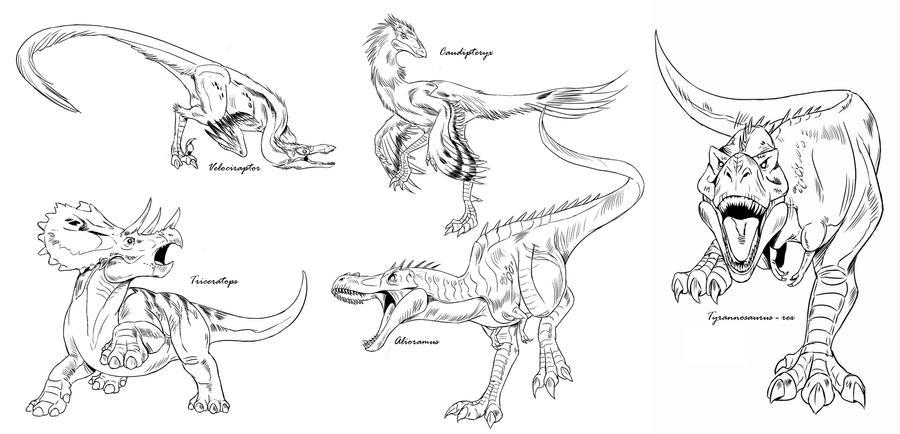 Line Art Dinosaur : Dinosaur line art studies by neurowing on deviantart