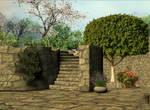 3d Background - Stone garden