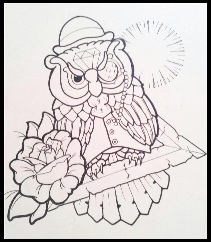 owl linework by BenjiRox