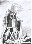 Elric of Melnibone ink and dry brush.