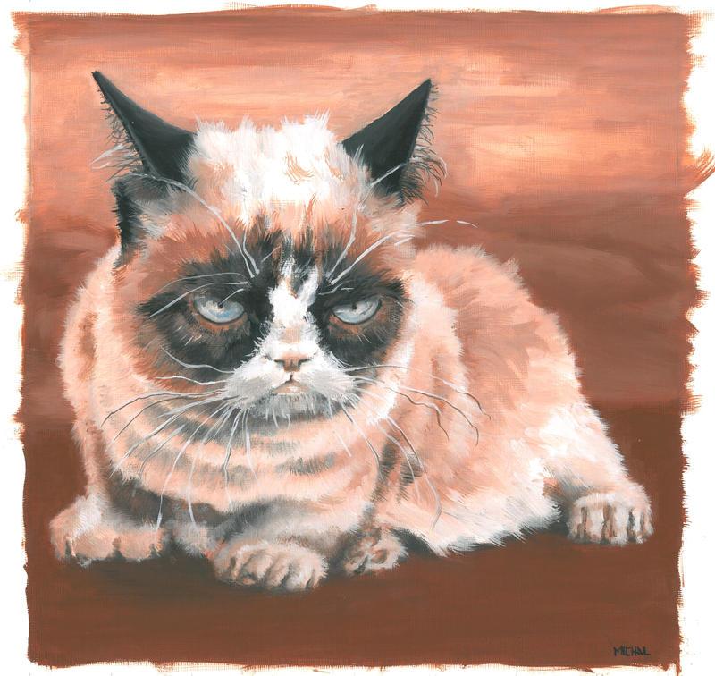 sleepy grumpy cat by bwcopy