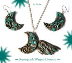 Steampunk winged crescent set