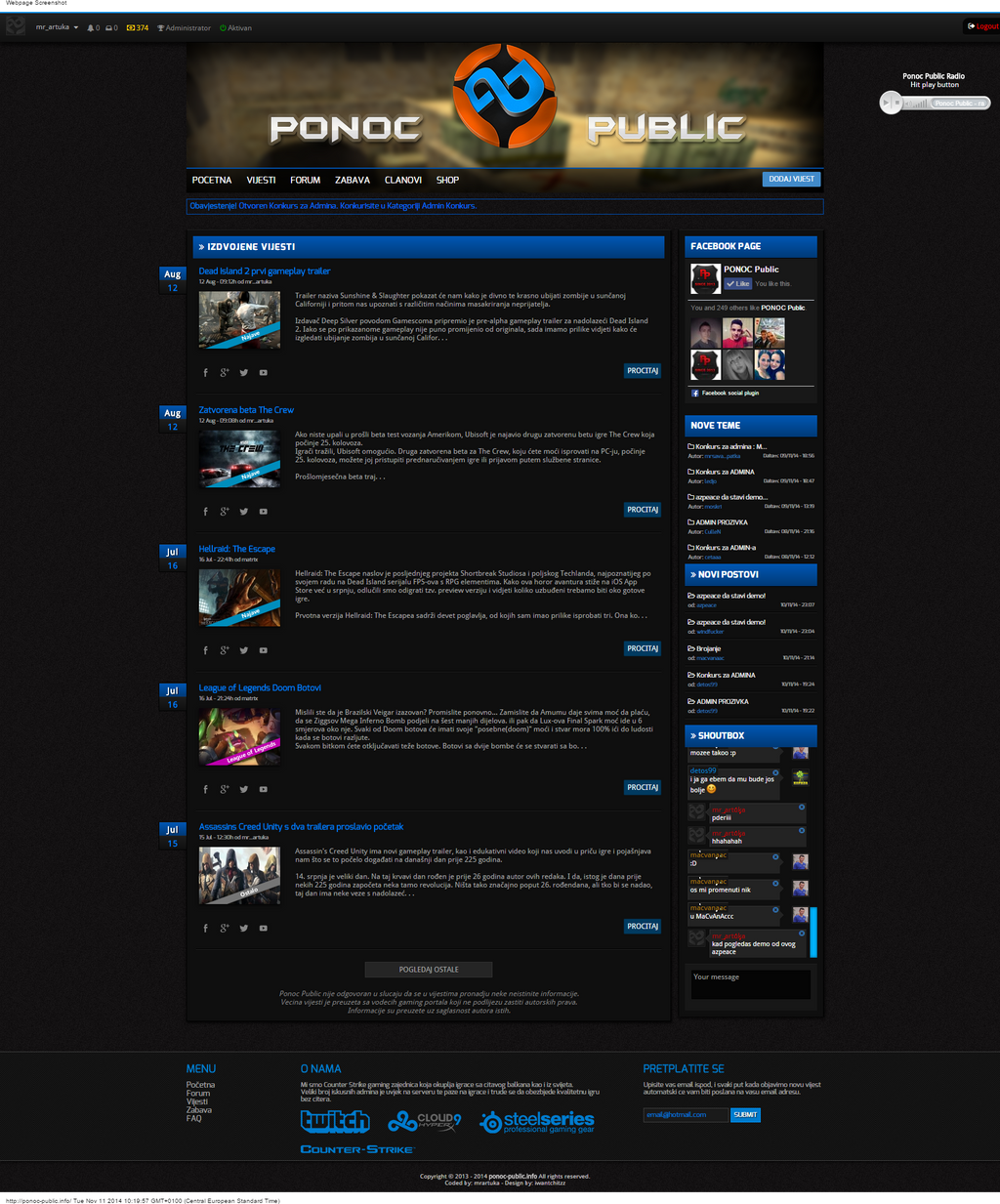 Ponoc Public gaming community CMS for SALE by mr-artuka on DeviantArt