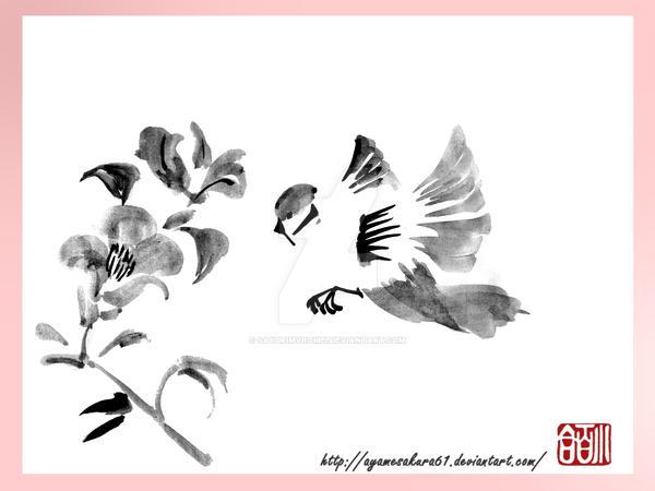 Kotori - Little bird - sumi-e by SayuriMVRomei
