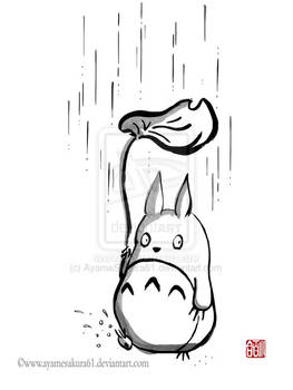 Rainy day for Totoro - sumi-e