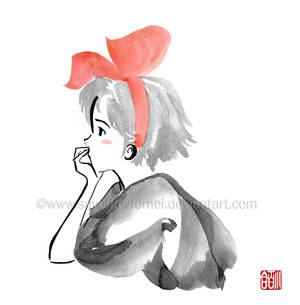 Kiki daydreaming - sumi-e