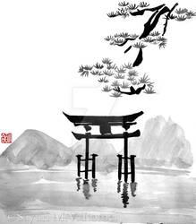 Torii - sumi-e by SayuriMVRomei