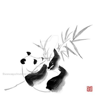 Panda - sumi-e