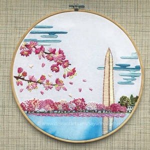Cherry Blossoms in Washington, DC - embroidery
