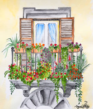 Roman Balcony - watercolor