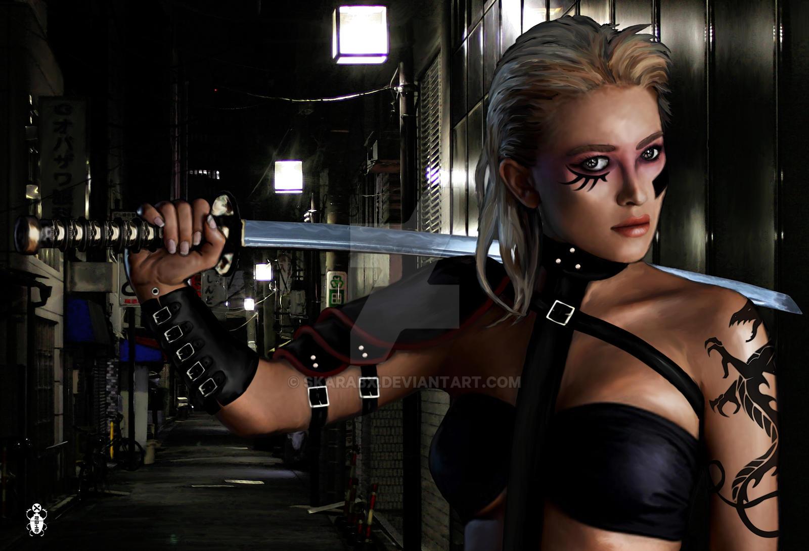 Cybernoir street samurai by skarabx on deviantart for Case futuristiche