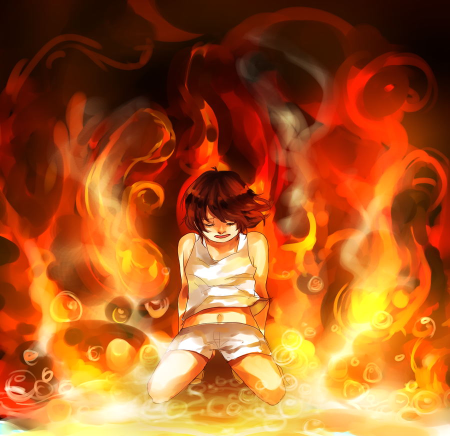 Fire to your rain fire close up by calvariae on deviantart - Anime girls with fire ...