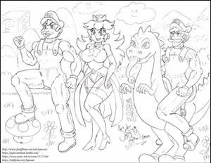 Super Mario Bros, Princess Peach, Luigi and Yoshi