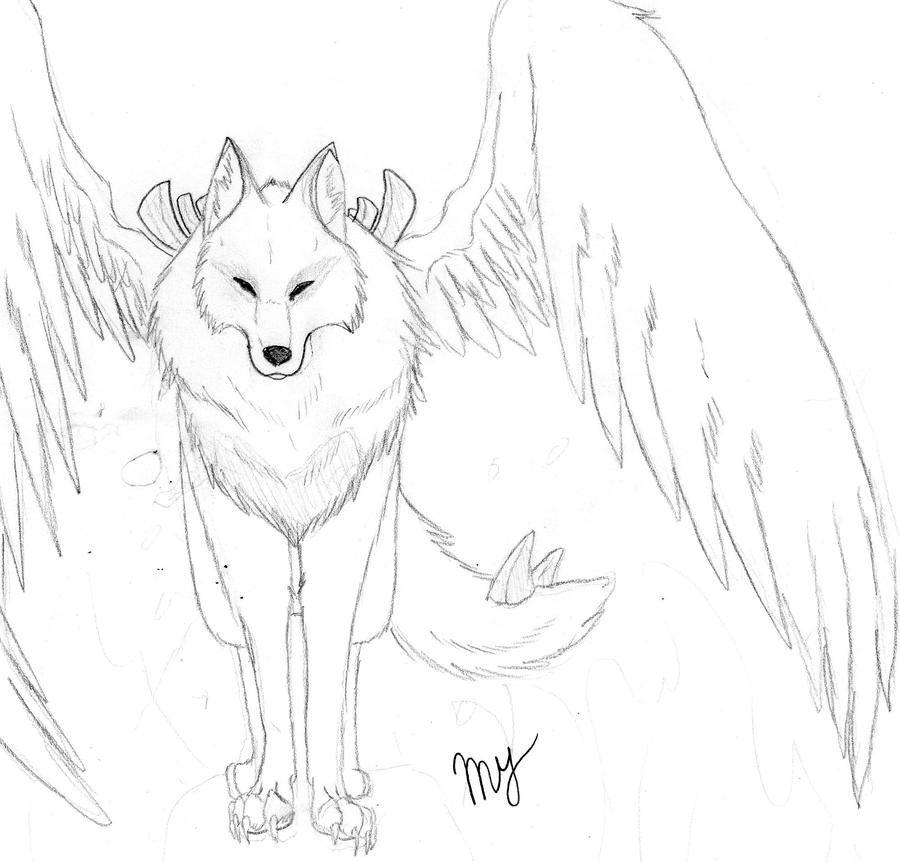 Wolf Drawing Anime Anime Wolf With Wings Drawing