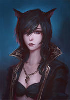 Commission: Miqo'te Portrait by raikoart