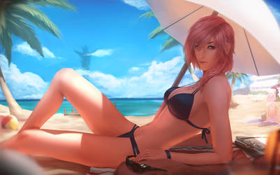 Beachgirl Lightning by raikoart
