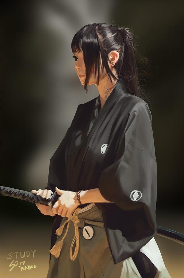 samurai girl study by raikoart on deviantart
