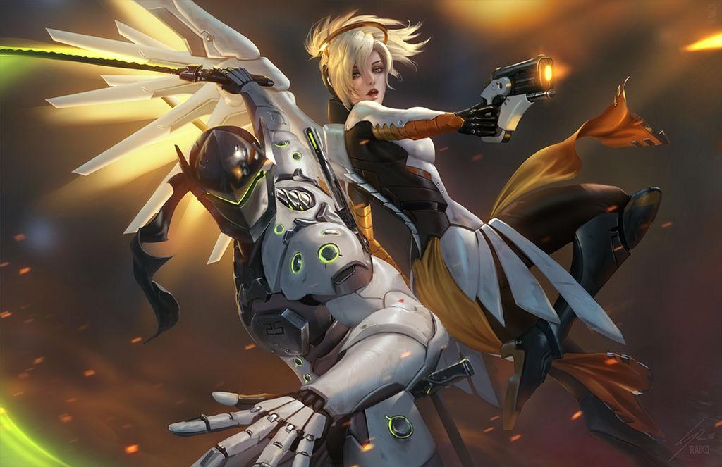 Mercy and Genji by raikoart