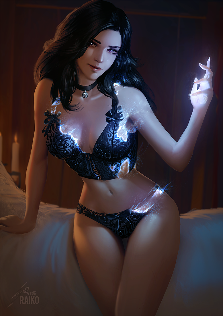 Yennefer Pin-up by raikoart