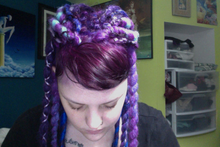 My First Dread Install Purple Blue Goodness Hair Extensions Forum