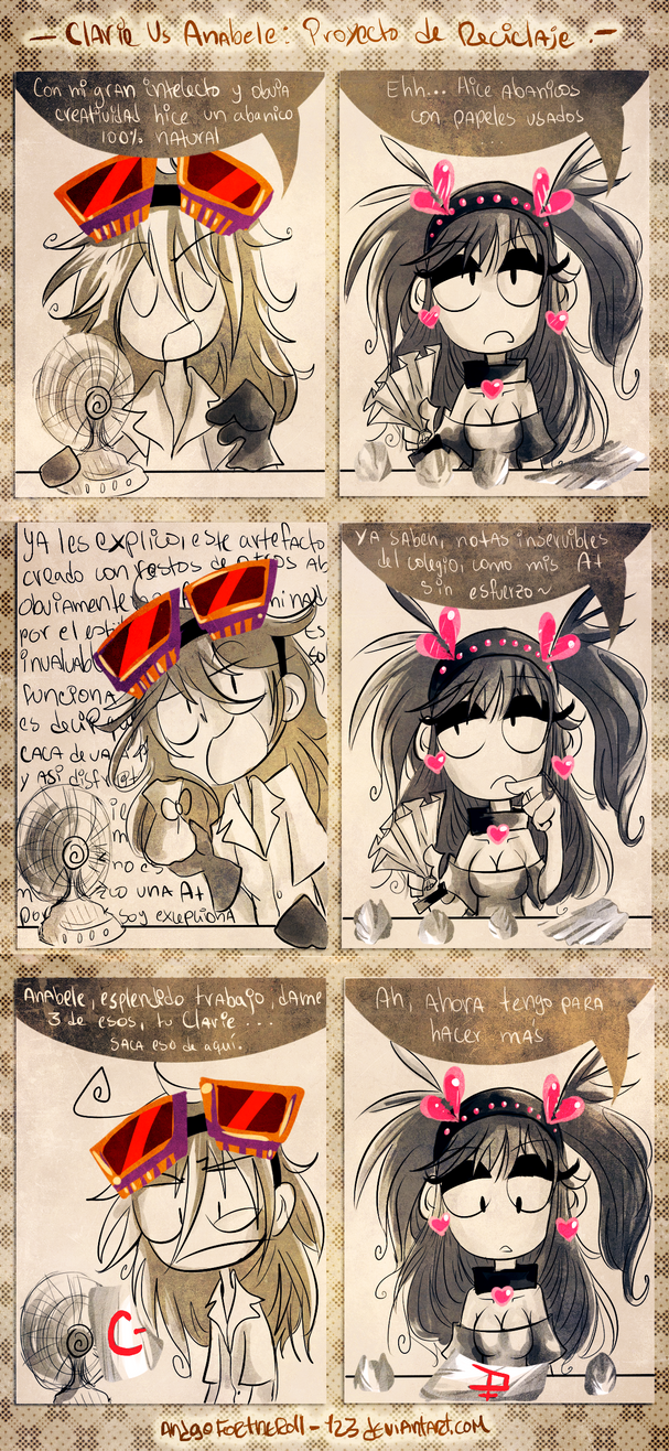 Clarie VS Anabele 1 : Projecto de reciclaje by Andgofortheroll-123