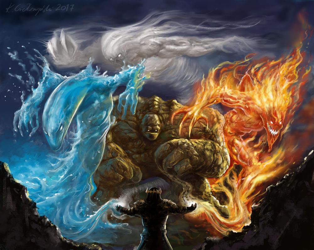 King of Four Elements by gielczynski