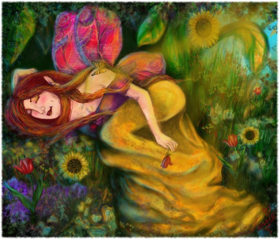Slumber of the Flower Guardian by tessieart333