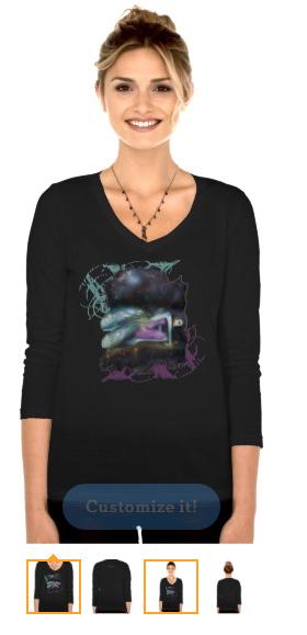 Winter Moon Fairy Custom Womens V-Neck 3/4 Sleeve by tessieart333